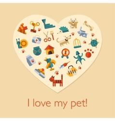 flat design pets composition vector image