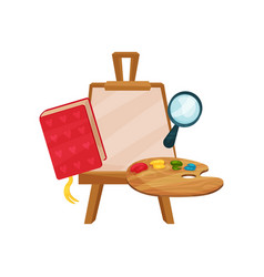 flat icons of school supplies wooden easel vector image