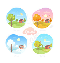 four seasons - set flat design style vector image