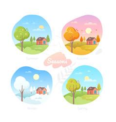 Four seasons - set flat design style vector