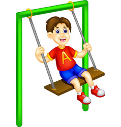 Funny boy cartoon playing swing with laughing vector