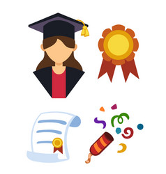 Graduation woman silhouette uniform avatar vector