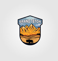 grand teton national park vintage logo design vector image