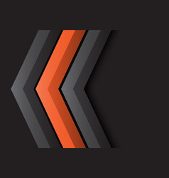 Grey orange arrow 3d direction on black vector