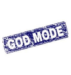 Grunge god mode framed rounded rectangle stamp vector