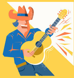 guitar player man in cowboy hat singing and vector image