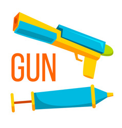 gun toy water and bullet isolated flat vector image
