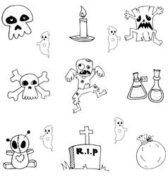 Halloween doodle set zombie tomb ghost vector