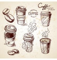 hand drawn doodle sketch vintage paper cup of vector image