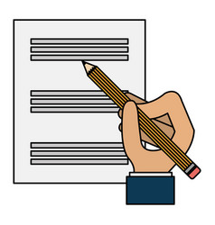Hand writing with pencil in documents paper vector