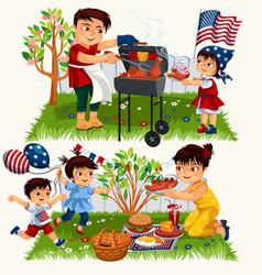 happy cartoon family having bbq outside set vector image