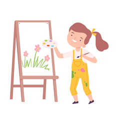 Happy girl painting on canvas with palette and vector