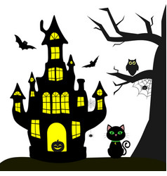 happy halloween witch castle black cat tree vector image