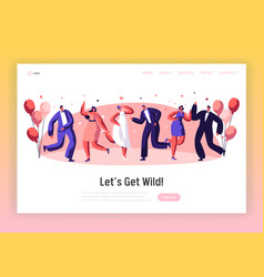 happy wedding dancing ceremony landing page vector image
