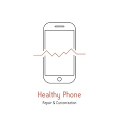 healthy phone logotype with outline smartphone vector image