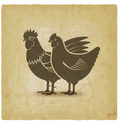 hen and rooster silhouettes vintage background vector image