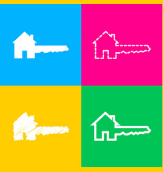 home key sign four styles of icon on four color vector image