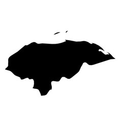 honduras - solid black silhouette map of country vector image