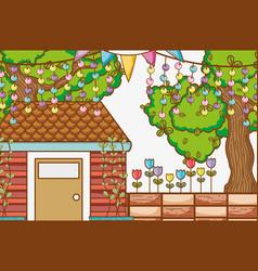 House garden cartoon vector