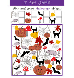 i spy halloween objects - educational game for kid vector image