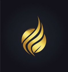 Leaf organic wave gold logo vector