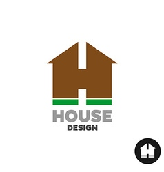 Letter h as a house silhouette building logo vector