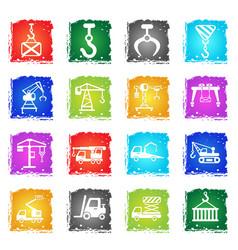 lifting machines icon set vector image