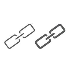 link line and glyph icon contact us and chain vector image