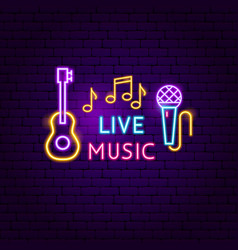 Live music neon sign vector