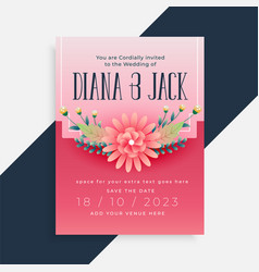 lovely flower wedding invitation card design vector image