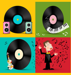 Lp - vinyl record discs with speakers piano vector