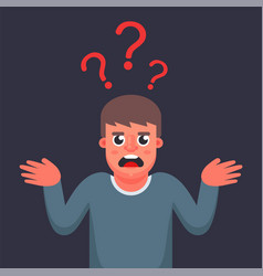 Man is puzzled does not know answer to the vector