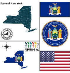Map new york with seal vector