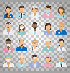 Medical staff avatars on transparent background vector