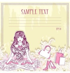 Message card with fashion girl in the lotus vector image