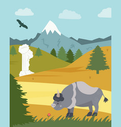 Natural park poster scene with bison mountains vector