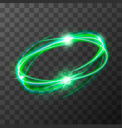 Neon blurry swirl green magic light trail effect vector