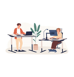 people working at modern ergonomic workplace vector image