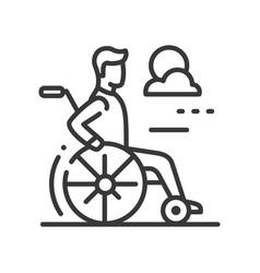 person in a wheelchair - line design single vector image