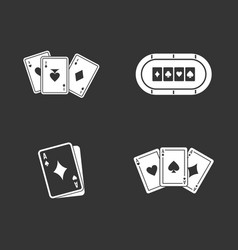 playing cards icon set grey vector image