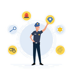 Police officer with law enforcement icons vector
