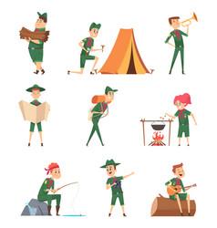 Rangers kids little scouts in green uniform vector