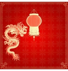 Red background with chinese lanterns and dragon vector