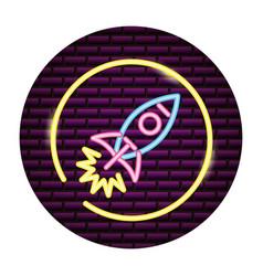 rocket launching neon vector image