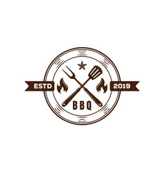 Rustic hipster bbq barbecue barbecue grill logo vector