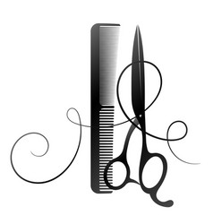Scissors and comb curl hair for a beauty salon vector