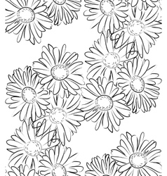 Seamless pattern black and white camomile flowers vector