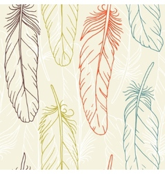 seamless pattern hand drawn feathers vector image