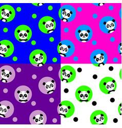seamless pattern with kawaii panda vector image