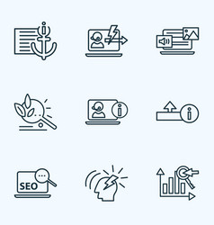 seo icons line style set with keyword ranking vector image